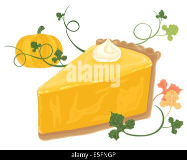 ein Beispiel für ein Stück Kürbis-Kuchen mit Sahne wirbeln Reben Laub und ganze Kürbis auf weißem Hintergrund - Stockfoto