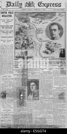 1913 daily Express Titelseite berichtet den Tod von Captain Scott und Kameraden in der Antarktis - Stockfoto