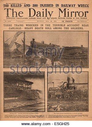1915 daily Mirror Titelseite Berichterstattung Quintinshill Zugunglück - Stockfoto