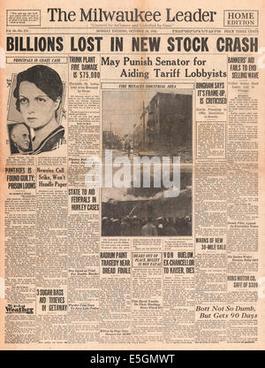 1929 Milwaukee Journal (USA) Titelseite berichtet das Wall Street Crash - Stockfoto