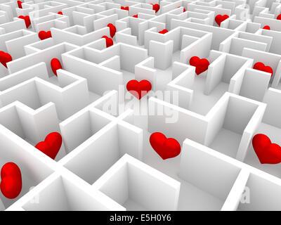 Rote Herzen in den endlosen weißen Labyrinth - Stockfoto