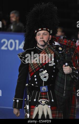 Glasgow, Schottland. 31. Juli 2014. Eine Piper auf dem Dudelsack bei XX Commonwealth Games in Glasgow zu spielen. - Stockfoto
