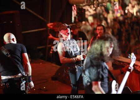 Kuestrin, Polen. 2. August 2014. Eine deutsche Heavy-Metal-Band namens Accept aus der Stadt Solingenat führen Sie - Stockfoto