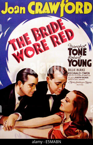 THE BRIDE WORE RED, l-r: Robert Young, Franchot Tone, Joan Crawford auf Plakatkunst, 1937 - Stockfoto