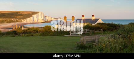 Panoramablick auf die sieben Schwestern, East Sussex, England, UK - Stockfoto