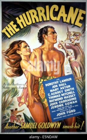 Hurrikan, Dorothy Lamour, Jon Hall, 1937. - Stockfoto