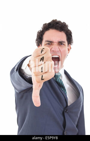 Wütend Geschäftsmann zeigt Daumen nach unten Geste als Ablehnung Symbol, Mann im Anzug mit Daumen nach unten Fehler - Stockfoto