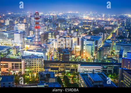 Sendai, Japan Stadtbild über Sendai Station. - Stockfoto
