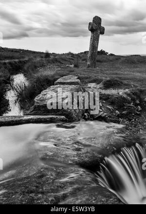 Beckamoor Kreuz/Windy Post auf Dartmoor - Stockfoto