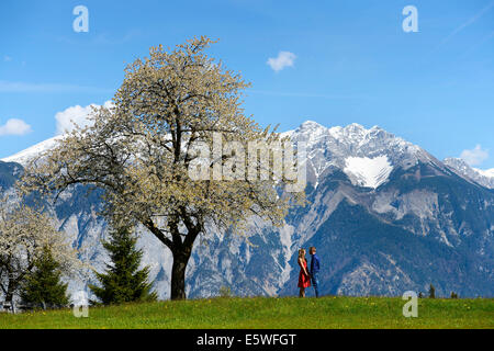 Liebhaber im Frühjahr, stehen neben einem blühenden Baum Berge auf der Rückseite, Tirol, Österreich - Stockfoto