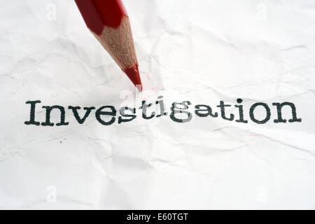 Untersuchung-Text auf Papier - Stockfoto