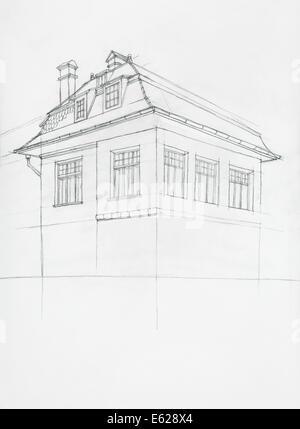 Drahtmodell Bauplan Zeichnen von 3D-Haus-Vector Illustration Vektor ...