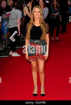 London, UK. 12. August 2014. Beth Sherburn besuchen die UK Premiere von WHAT IF The Odeon West End London am 12. - Stockfoto