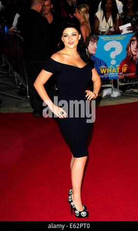 London, UK. 12. August 2014. Lucy Key besuchen die UK Premiere von WHAT IF The Odeon West End London am 12. August - Stockfoto