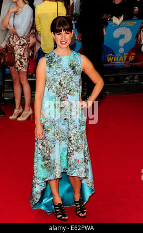 London, UK. 12. August 2014. Jemima Rooper besuchen die UK Premiere von WHAT IF The Odeon West End London am 12. - Stockfoto