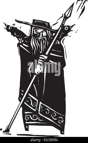 Holzschnitt-Stil Bild der Wikinger Gott Odin - Stockfoto