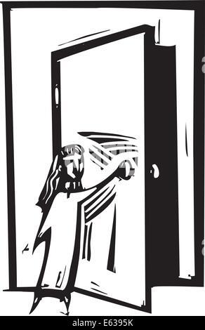 Holzschnitt Stil expressionistische Bild eines Mädchens, das Öffnen einer Tür. - Stockfoto