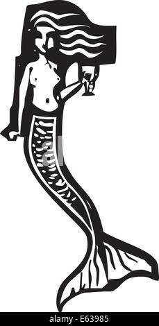 Holzschnitt-Stil Bild einer Meerjungfrau einen Becher Wein zu trinken. - Stockfoto