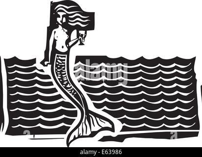 Holzschnitt-Stil Bild einer Meerjungfrau in den Wellen. - Stockfoto