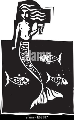 Holzschnitt-Stil Bild einer Meerjungfrau im Ozean mit Fisch. - Stockfoto