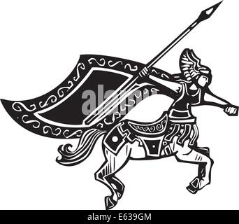 Holzschnitt Stil Bild von einem weiblichen Zentauren mit einem Speer. - Stockfoto