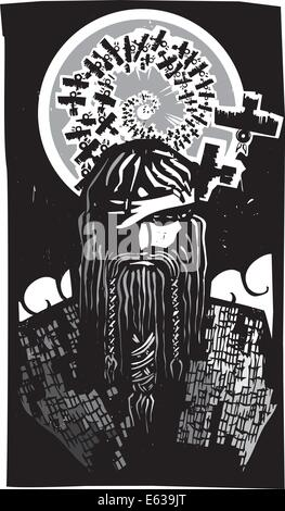 Holzschnitt-Stil Bild der Wikinger Gott Odin mit Spirale Krähen - Stockfoto