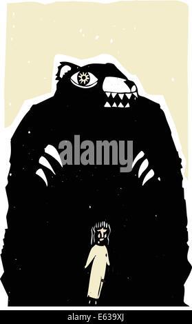 Holzschnitt Druckstil Bild der Bär bedrohlich eine Mädchen. - Stockfoto
