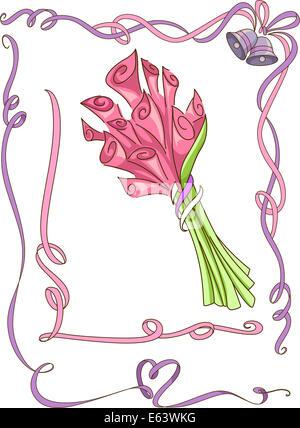 Abbildung mit bunten Bändern und einem Blumenstrauß - Stockfoto