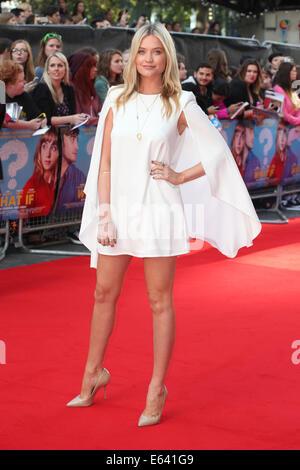 """London, UK. 12. August 2014. Laura Whitmore besucht die UK-Premiere von """"Was wäre wenn"""" im Odeon West End am 12. - Stockfoto"""