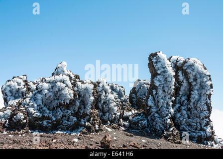 Roque de Los Muchachos, Felsformationen bedeckt mit Eis, La Palma, Kanarische Inseln, Spanien - Stockfoto