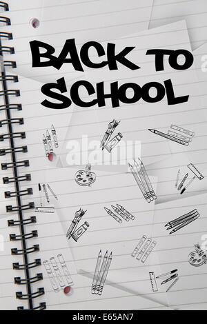 Zusammengesetztes Bild von Back to School-Nachricht Stockfoto