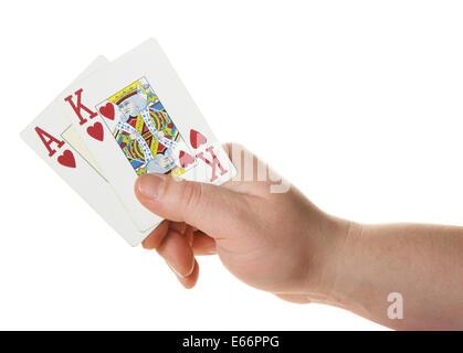 Ass-König - hohe Starthand beim Poker Texas Hold - Stockfoto