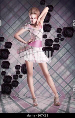 Moderne Kunst. Frau im karierten Kleid über abstrakten Hintergrund - Stockfoto