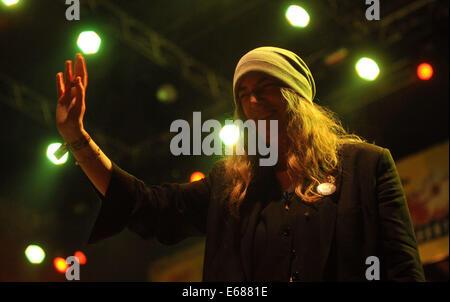 Trutnov, Tschechien. 16. August 2014. US-Sänger und Dichter Patti Smith, während Musik Festival Trutnoff in Trutnov, - Stockfoto