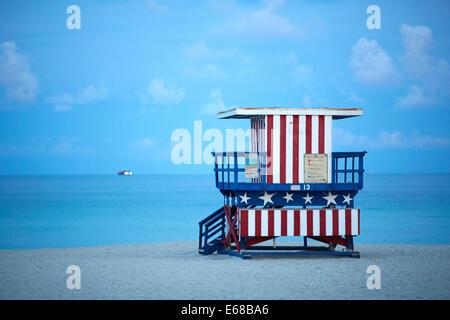 Touristische Attraktion Strandhütte am South Beach in Miami - Stockfoto