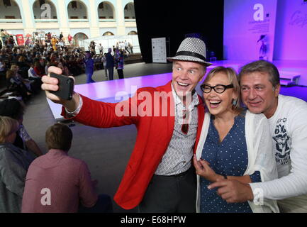 Moskau, Russland. 18. August 2014. Schauspieler Alexander Kuznetsov, Natalya Khorokhorina und Ivan Shabaltas (L - Stockfoto