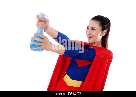 Junge Frau in Superman outfit - Stockfoto