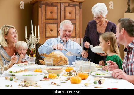 Abendessen, Familienleben, Danksagung - Stockfoto