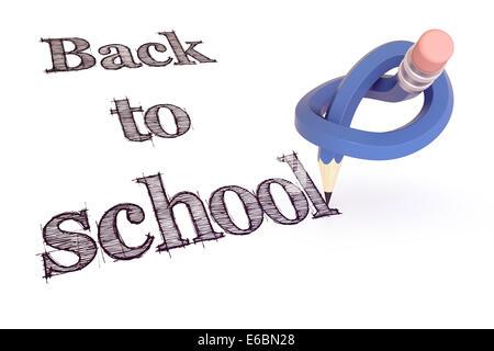 Zurück zur blauen Bleistift Knoten Schulkonzept von Hinweis-Rendering 3d - Stockfoto