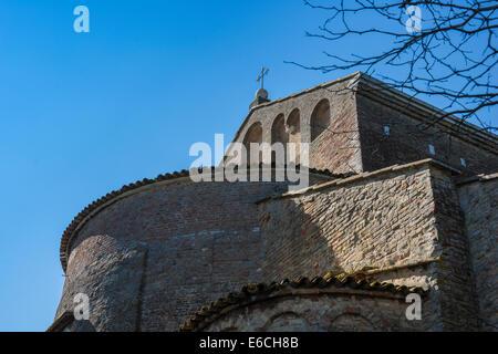 Detail von der Rückseite der Basilika Santa Maria Assunta auf Insel Torcello in der Lagune. - Stockfoto