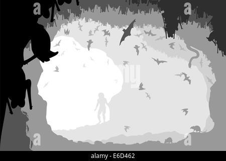 Bearbeitbares Vektor-Illustration eines Mannes an der Mündung einer Fledermaus-Höhle mit allen Zahlen als separate - Stockfoto