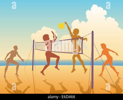Bearbeitbares Vektor bunte Silhouetten von Frauen spielen Beach-volleyball - Stockfoto