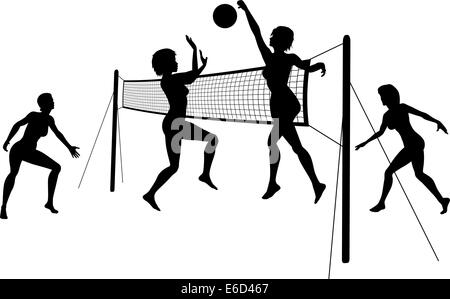 Editierbare Vector Silhouetten von Frauen spielen Beach-Volleyball mit Frauen und Net als separate Objekte - Stockfoto