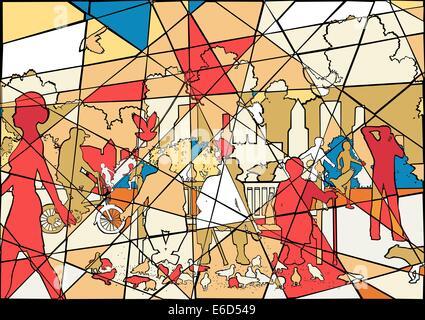Editierbare Vektorgrafik buntes Mosaik von Menschen und Tauben in einem belebten städtischen park - Stockfoto
