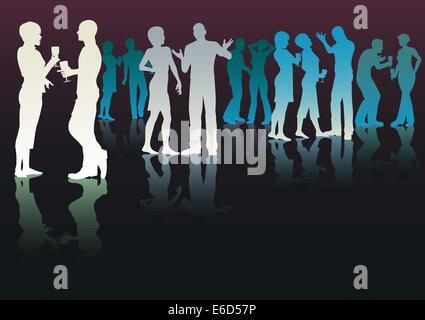 Bearbeitbares Vektor Silhouetten von Menschen auf einer Party Geselligkeit - Stockfoto