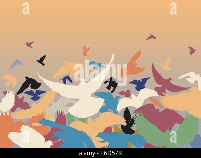 Vektor-Design von einer Herde von bunten Tauben ausziehen - Stockfoto