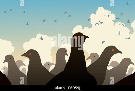 Editierbare Vektor-Illustration von Tauben beobachten andere Vögel fliegen - Stockfoto