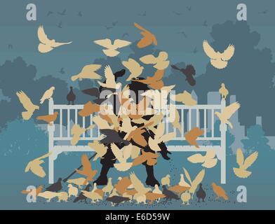 Bearbeitbares Vektor-Illustration eines Mannes auf einer Parkbank, erstickt durch Tauben - Stockfoto