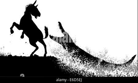 Editierbare Vector Silhouetten von einem Krokodil angegriffen ein Zebra oder Pferd mit Zahlen als separate Objekte - Stockfoto