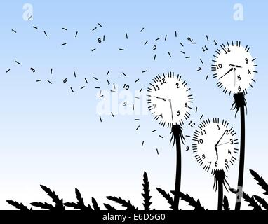 Abstrakte editierbare Vektor-Illustration von Löwenzahn Clockfaces im wind - Stockfoto